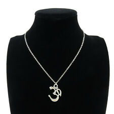 Silver Alloy Yoga Om Aum Symbol Pendant Short Chain Collar Necklace 18""