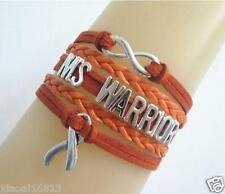 Infinity MS WARRIOR Cancer Ribbon Charms Suede Leather Braided Bracelet-orange