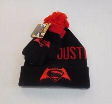 NWT Boys Batman V Superman Dawn Of Justice Hat & Gloves Winter Set One Size