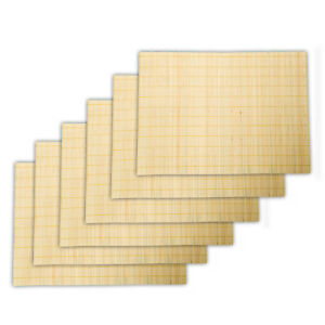SET OF 6 BEIGE SQUARE BAMBOO PLACEMATS TABLE MATS COASTER SETTING WOODEN DINING