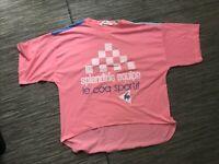 Le Coq Sportif Dip Hem Tee T Shirt Women's Large Short Sleeve Pink Vintage VTG