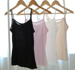Women's 50% Silk Basic Camisole Top Vest Shirt Sleepwear Spaghetti Strap SG307