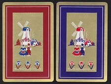 2 Single VINTAGE Swap/Playing Cards DUTCH COUPLE WINDMILL ID 'TULIP CE-8-37'