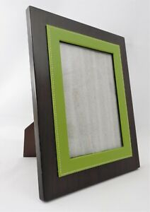 Picture Photo Frame Modern w Glass Dark Wood Green Leather Trim For 5 x 7 Pic