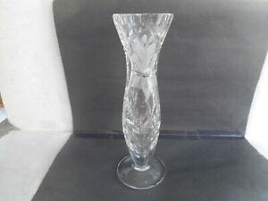 """Vintage Tall Crystal Vase    Frosted Flower and Cut Leaf Design   8 1/4i """" High"""