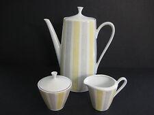 Vintage Bavaria Qualitats Porzellan Stripe Teapot, Sugar Bowl, Creamer Set