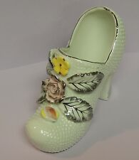 White Ladies Shoe Figurine Trimmed in Silver Pink Yellow Porcelain Ceramic
