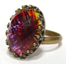 SoHo® Ring vintage altgold bronze bohemia oval 60er volcano handgemachtes Glas