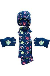 Boys Halloween Monsters Knitted Hat Scarf and Glove Set 2-6 Years Navy Blue