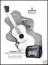 PUBBLICITA' 1942 RADIO SIEMENS 522 VALVOLE CHITARRA SUONO MUSICA FREQUENZA