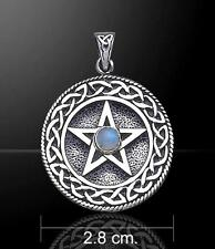 Celtic Knot Border & Moonstone Pentacle - Sterling Silver     ~Peter Stone