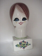 "VINTAGE CHINA GLASS HAND PAINTED WIG HEAD STAND? LOVELY LADY, 14"" TALL, FINE NR"