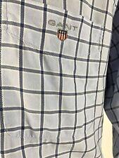 GANT Men's Princeton Oxford Blue Tartan Regular Fit Long Sleeve Shirts Size M