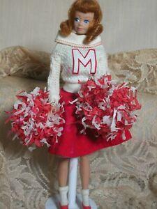 Vintage  Mattel Midge Doll Cheerleader Outfit with  Pom Poms & Swim Suit 1960s