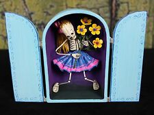 Day of the Dead Teenager with Flowers & Ponytail Hand Made Retablo Folk Art Peru