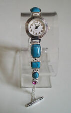 DESIGNER TURQUOISE WITH RED/PINK STONE STYLISH  WOMEN'S FASHION WATCH