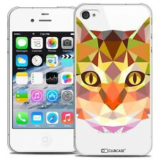 Coque Crystal Rigide iPhone 4/4s Extra Fine Polygon Animals - Chat