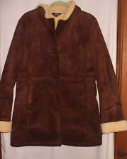 Lands End brown faux suede /faux sherling lining womens size 12-14 car coat