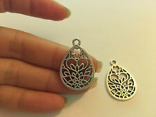 10 Tibetan Silver Charms Pendentif Larme Fleur Antique Wholesale UK vrac