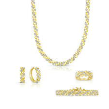 4 Piece 1.00ctw Gold over Silver Oval Link Bracelet, Earring, Ring and Pendant