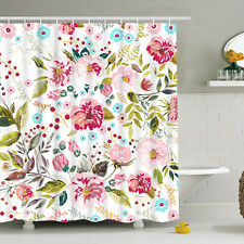 Romantic Flower Shower Curtain Waterproof Polyester Fabric with Hooks Bathroom