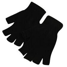 1 Pair Winter Warm Fingerless Half Finger Gloves Knitted Mittens Soft Black US