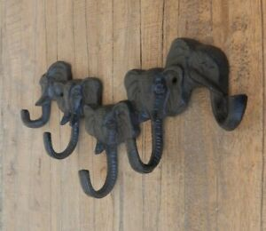 Cast iron 5 hooks Elephant head trunk coat hooks Rustic style Brown UK SELLER