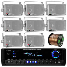 "8 Silver 3.5"" 200W Marine Speakers, Pyle Bluetooth USB Radio, 100FT Speaker Wire"