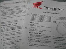 Honda Air Box Sealing Factory Service Bulletin 2002 CR250R 9496-0111