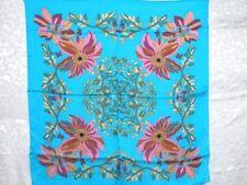 New Pure Silk Scarf Shawl Flowers on Aqua Blue