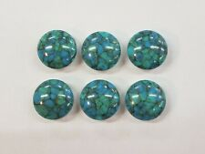 Eye Catching Silver Tone Blue Speckled Set of 6 Button Covers Jewelry