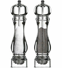 Set Of 2 Large Dining Clear Acrylic Salt & Pepper Mills Spices Grinders Shakers
