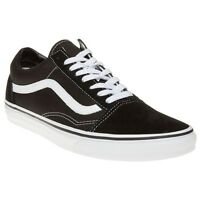 New Mens Vans Black Old Skool Canvas Trainers Lace Up