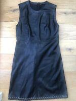 ZARA Size M Black Faux Leather Look Sleeveless Little Black Midi Dress Mex 28
