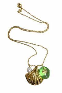 Tory Burch Charm Pendant Necklace Mint Green w/ Dust Bag