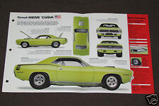 1970 PLYMOUTH HEMI CUDA (1971) Car SPEC SHEET BROCHURE PHOTO BOOKLET