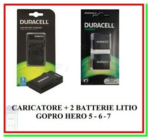 Caricabatteria DURACELL DRG5946 + 2 Pile Litio DRGOPROH5 GoPro Hero 5 6 7 2018