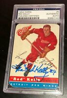 LEONARD RED KELLY SIGNED TOPPS 1954 RED WINGS CARD #5 PSA/DNA AUTHENTIC Auto