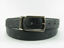 NWT Men COACH Modern Harness Reversible Signature CUT TO SIZE Belt F55158 BLACK