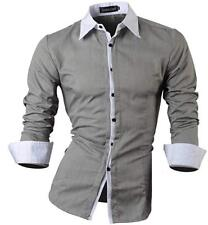 Jeansian Men's Slim Fit Long Sleeve Casual Shirt 1073 Gray X-Large