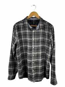 Obey Heavy Button Up Shirt Mens Size L Black Check Long Sleeve Pocket Outdoor
