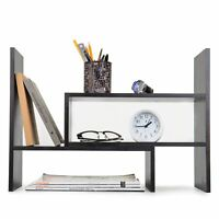 Adjustable Wood Desktop Storage Organizer Display Shelf Rack, Counter Top