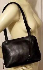 HOBO INTERNATIONAL Black Leather Zip Around Shoulder Bag Triple Section Small