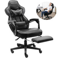 GAMING CHAIR RECLINER OFFICE COMPUTER DESK HIGH-BACK SWIVEL EXECUTIVE PU LEATHER