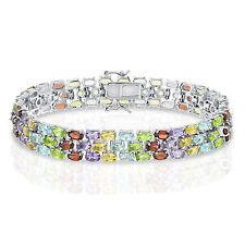 "Sterling Silver 7"" Triple Row Multi-Color Gemstone Bracelet"