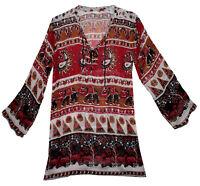 Indian Top Long Womens S M L Tank Cotton Shirt T Sleeve Cami Free Ship Hippy Usa