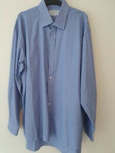 "Charles Tyrwhitt Shirt Blue White Striped 18"" - 46""  Regular Fit NON IRON Button"
