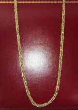 "14k Yellow Gold Diamond Filigree Byzantine Braided Artisan Chain 5M Necklace 24"""