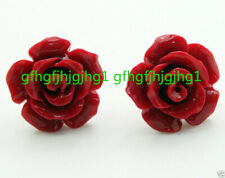 New Pair 12mm Red Coral Rose Flower 925 Silver Stud Earrings