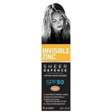 INVISIBLE ZINC SHEER DEFENCE TINTED MOISTURISER SPF50 LIGHT 50G WATER RESISTANT